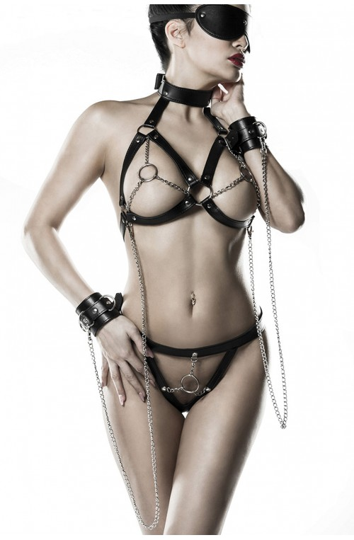 3 TEILIGES WETLOOK KETTENHARNESS-SET - SCHWARZ