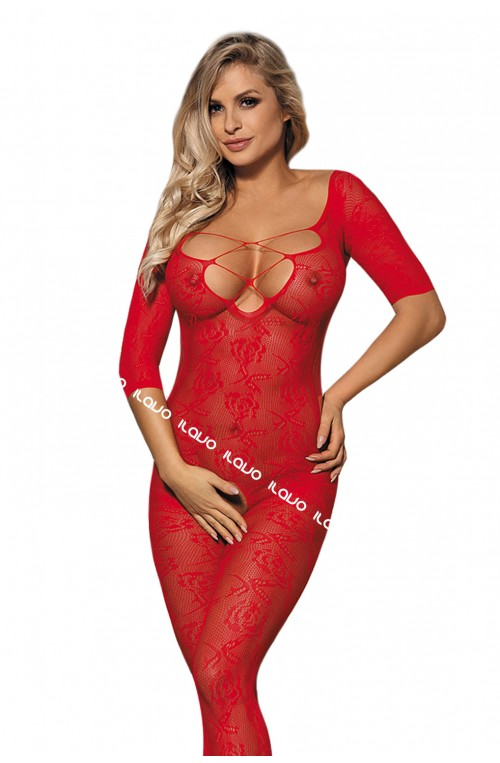 SINNLICHER FLORALER BODYSTOCKING - ROT