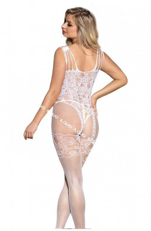 TRAUMHAFTER BODYSTOCKING MIT FLORALEM MUSTER - WEISS