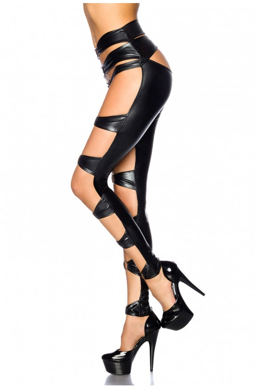 AUFREGENDE WETLOOK GOGO-LEGGINGS - SCHWARZ