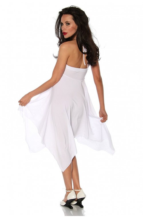 EXKLUSIVES SOMMER BANDEAU COVER UP KLEID - WEISS