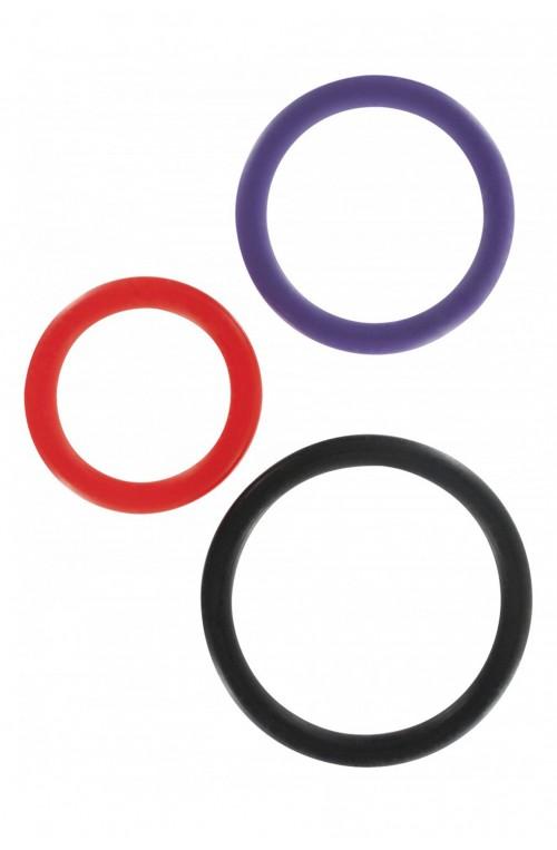 FLEXIBLES 3ER PENISRING / HODENRING SET - MEHRFARBIG