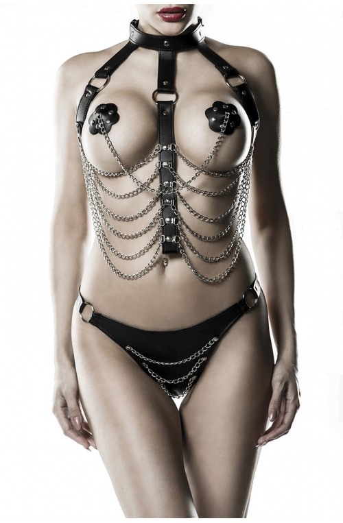 3 TEILIGES KETTENHARNESS SET - SCHWARZ