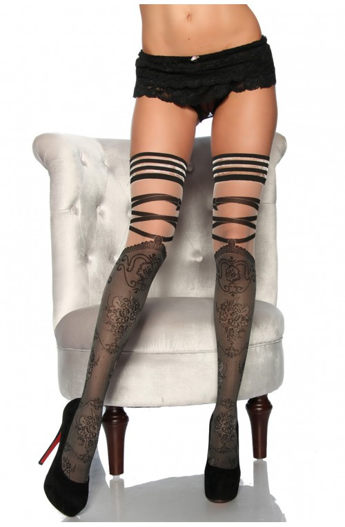 MODISCHE STOCKINGS - SCHWARZ / GRAU