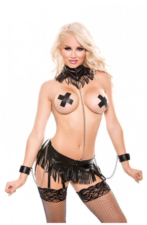 4 TEILIGES WETLOOK BONDAGE SET - SCHWARZ