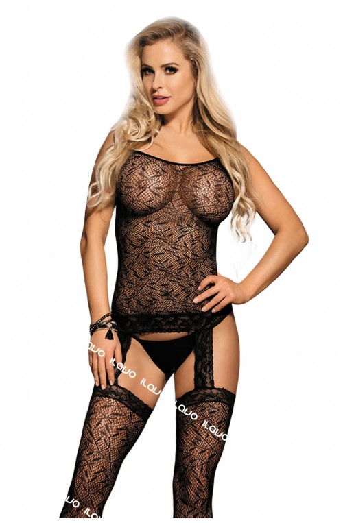 STRAPS BODYSTOCKING - SCHWARZ