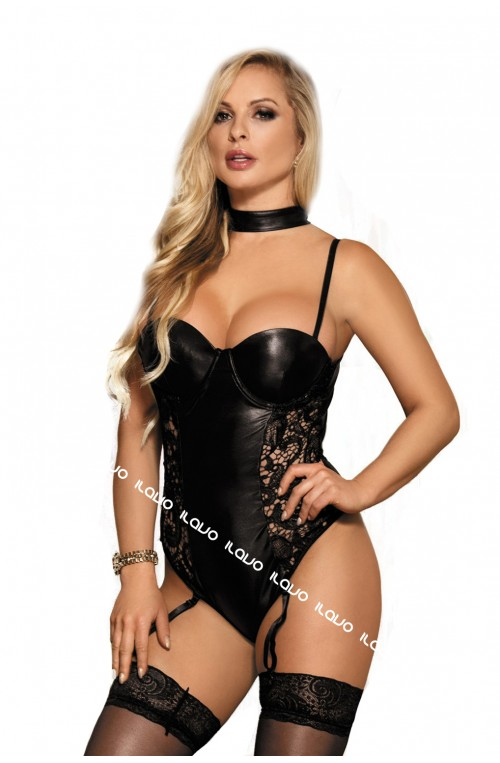WETLOOK STRAPS BODY - SCHWARZ